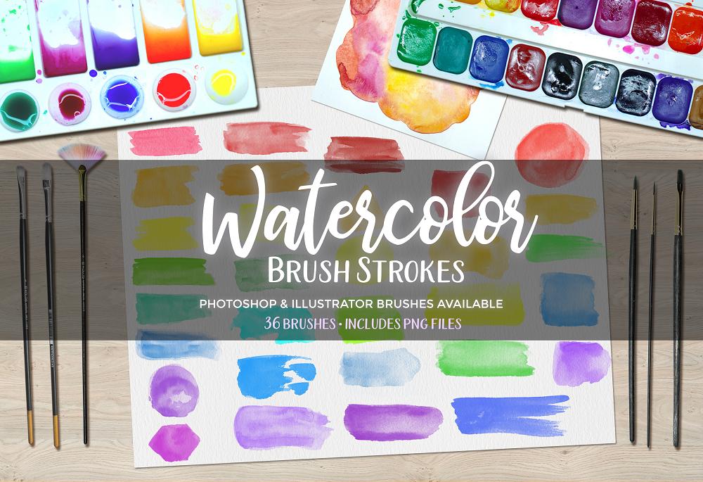 Watercolor Brush Strokes Bundle - Photoshop Brushes