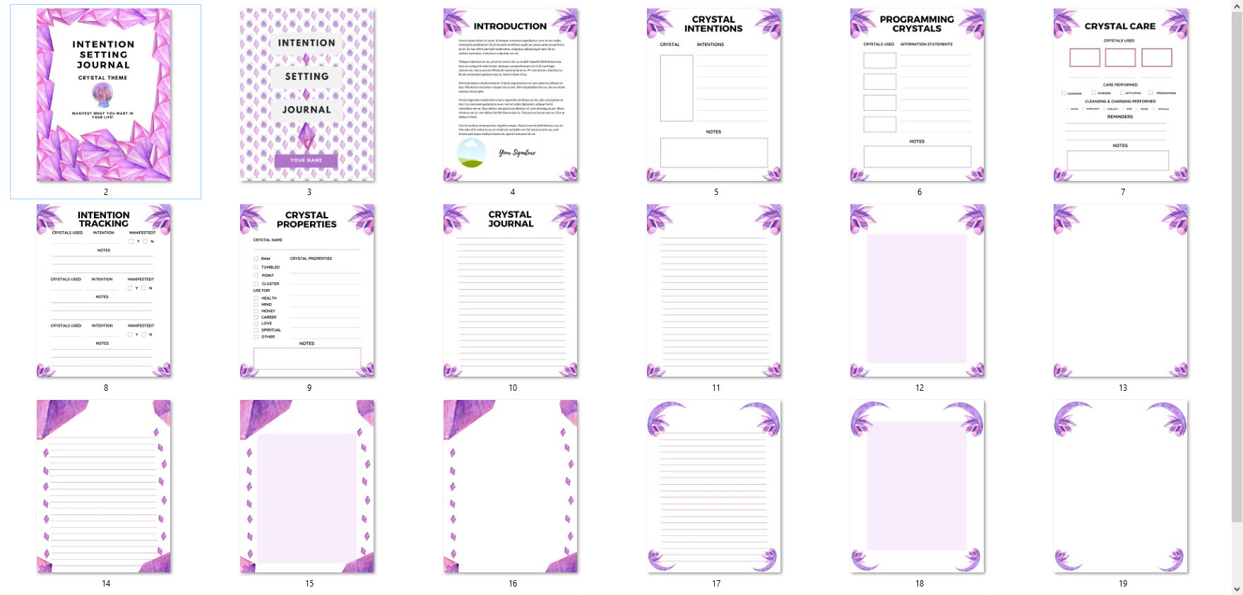 crystal intention setting journal interior pages