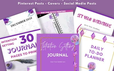 Watercolor Crystals Covers, Social Post, & Etsy Pack