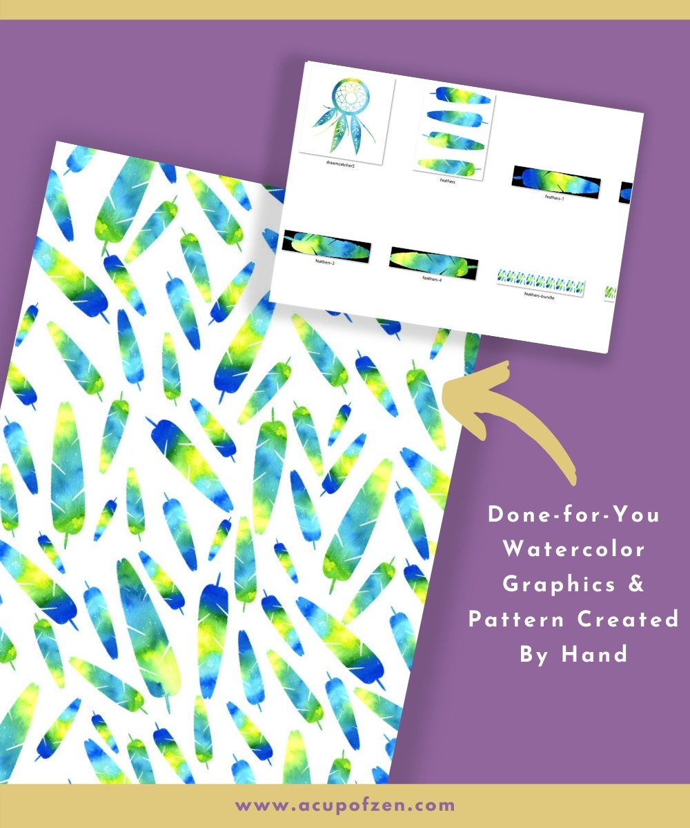 watercolor graphics feathers patterns commercial use