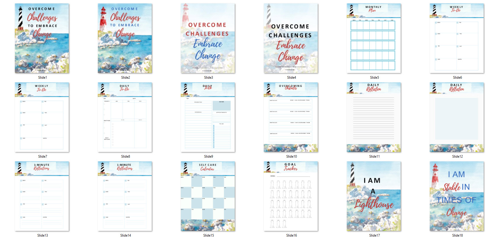 lighthouse planner templates commercial use