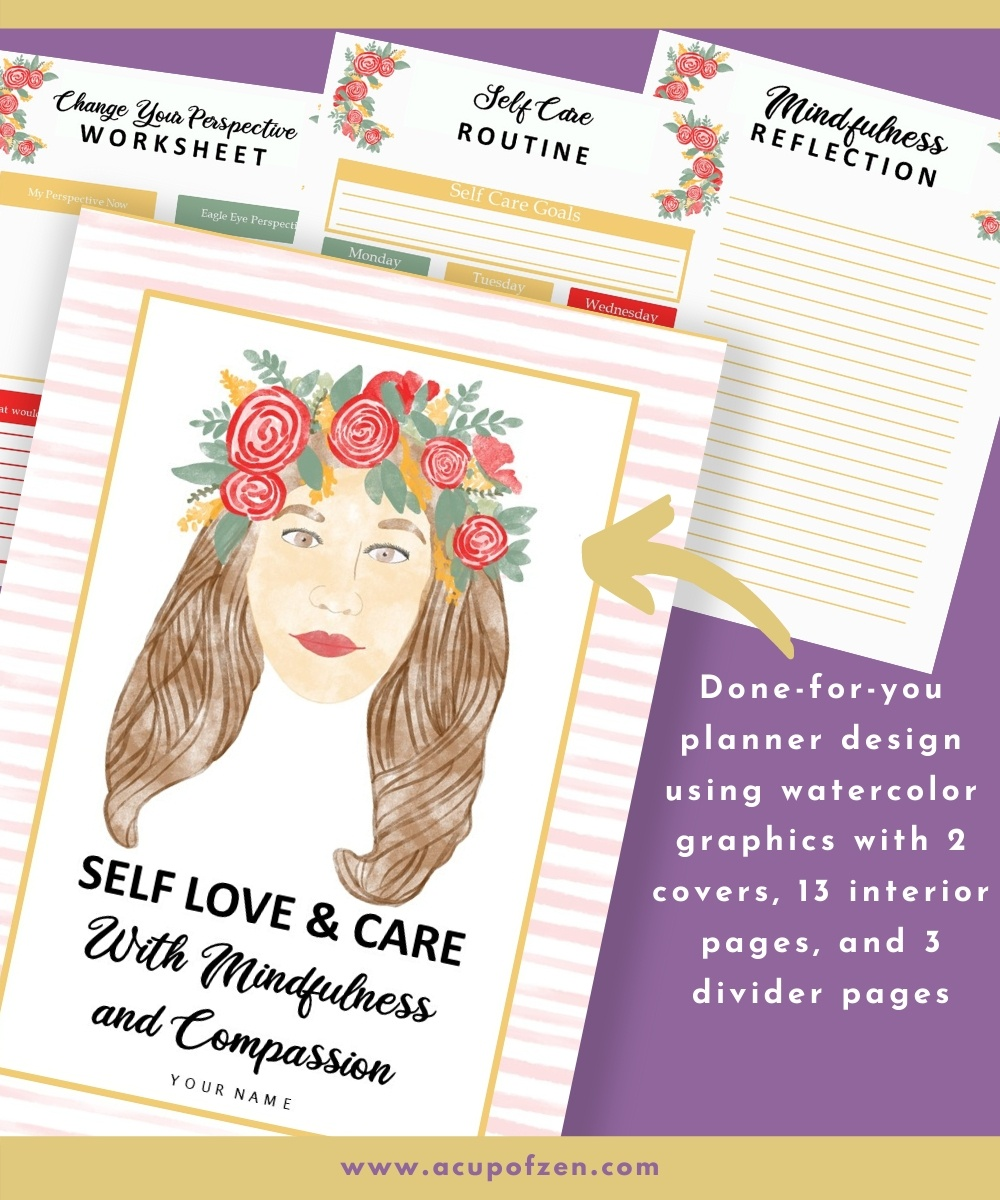 3 Self Love Watercolor Graphics and Planner