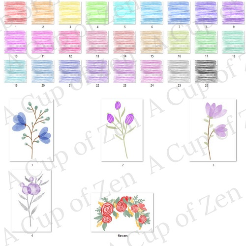 watercolor lines and flowers commercial use graphics