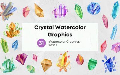 Crystals Watercolor Graphics