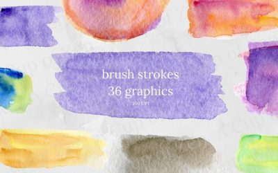 Brush Strokes Watercolor Graphics