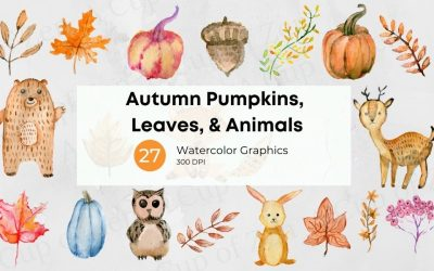 Autumn Pumpkins, Leaves, and Animals