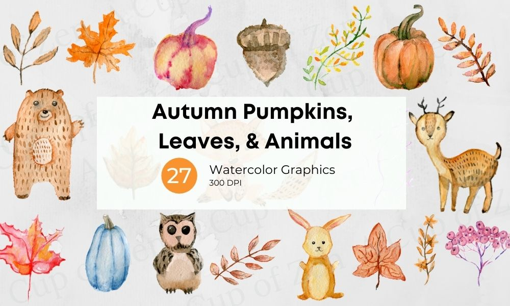 Autumn pumpkins, leaves animals clip art