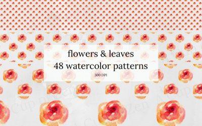 Flowers & Leaves Watercolor Patterns