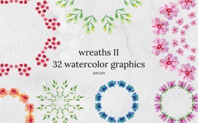 Wreaths II Watercolor Graphics