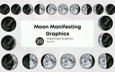 Moon Manifesting Watercolor Graphics