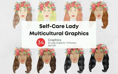 Self-Care Lady Multicultural Graphics