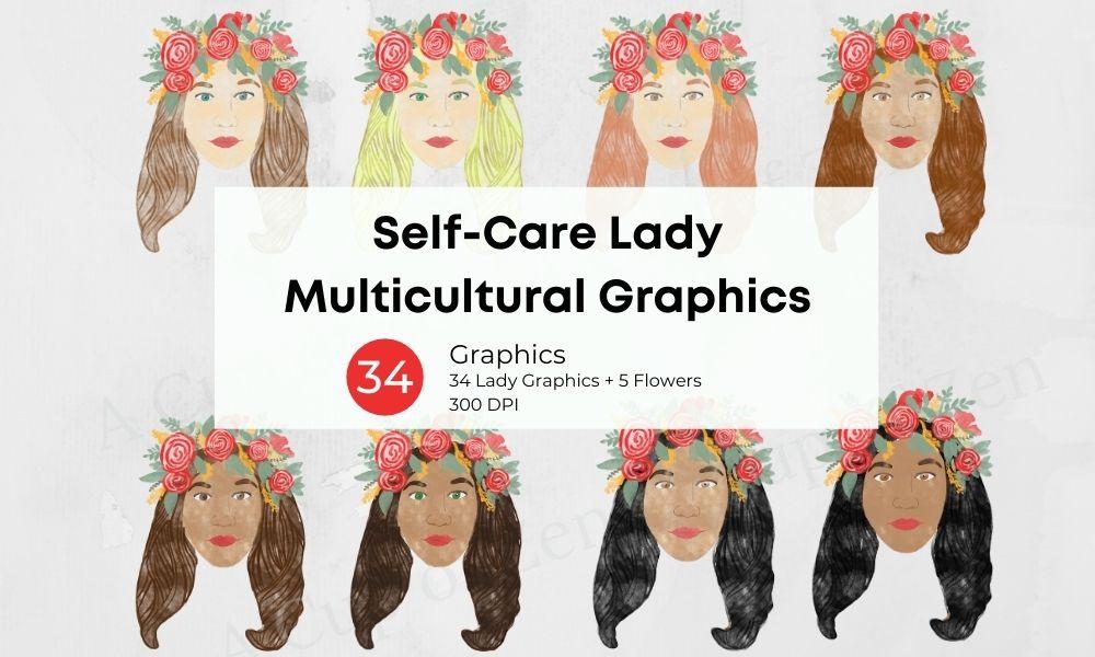 Self Care Multicultural Ladies Clip Art