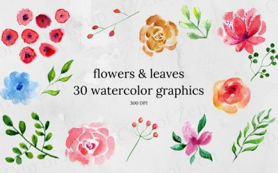 Flowers & Leaves Watercolor Graphics