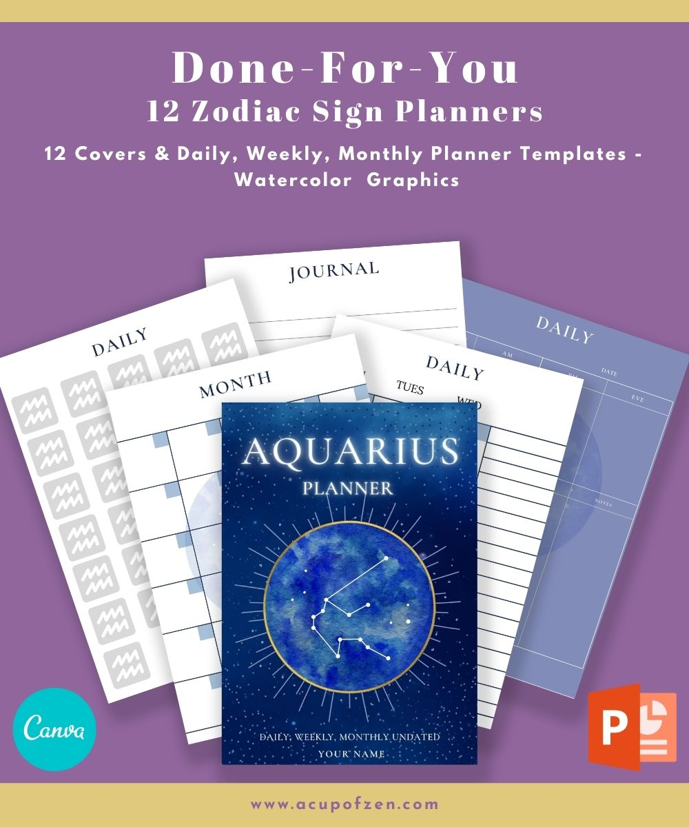 Zodiac Sign Planners Undated Commercial Use