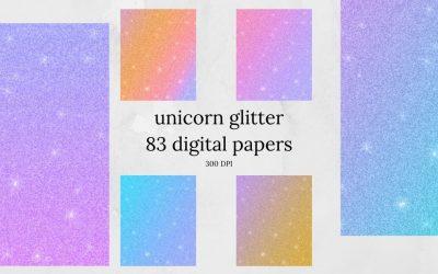 Unicorn Glitter Digital Paper