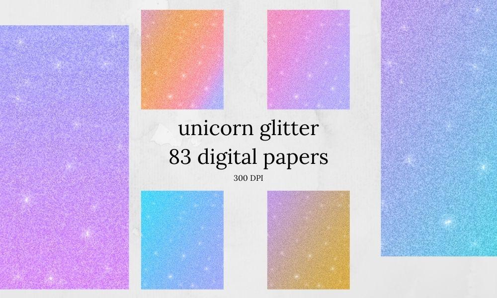 unicorn glitter digital papers
