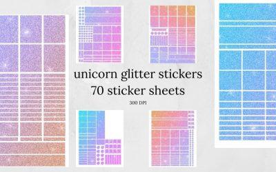 Unicorn Glitter Stickers