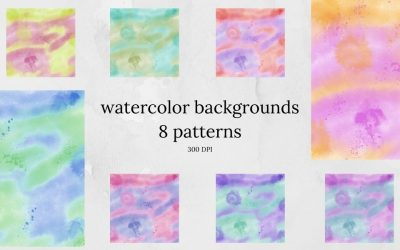 Watercolor Backgrounds Digital Paper – 8 Patterns