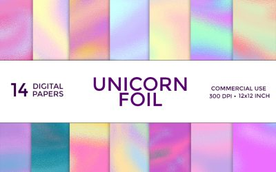 Unicorn Foil Digital Paper