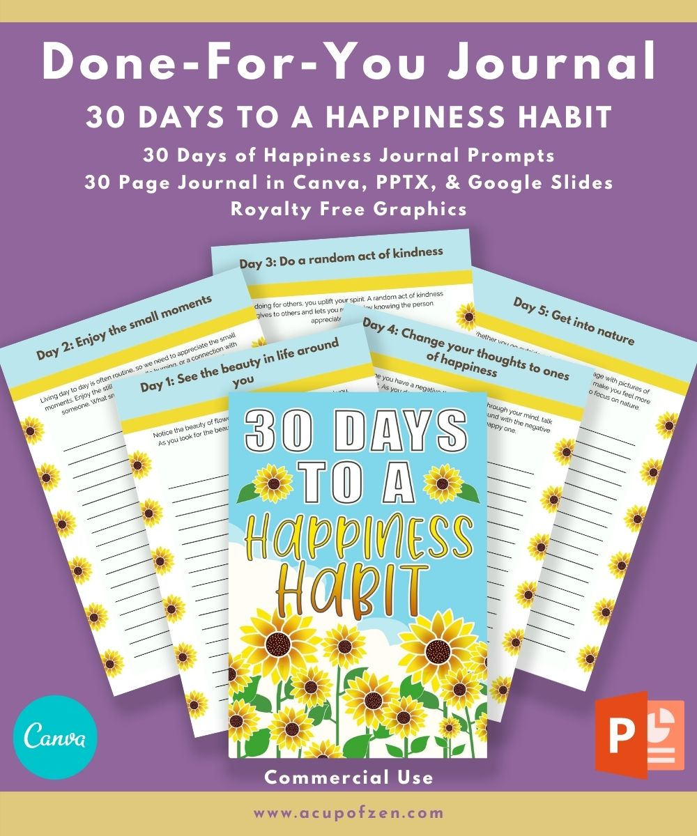 Happiness Habit Journal 30 Days Commercial Use