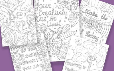 Happiness & Creativity Coloring with Words Pages